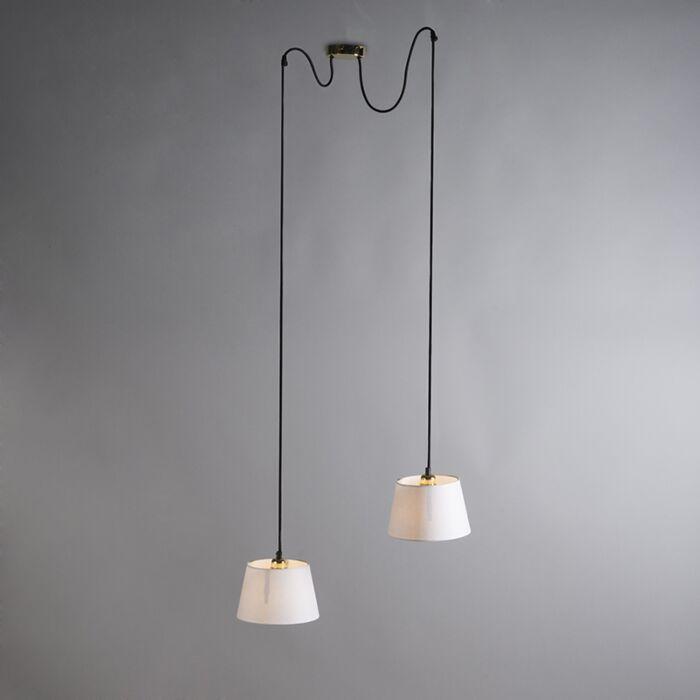 Lámpara-colgante-CAVA-2-oro-con-pantallas-blancas