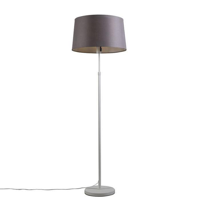 Lámpara-de-pie-blanca-con-pantalla-gris-/-marrón-45-cm-ajustable---Parte