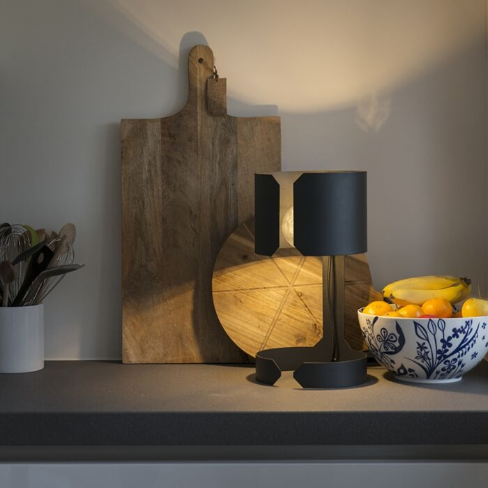 Lámpara-de-mesa-de-diseño-negro-mate---Vals