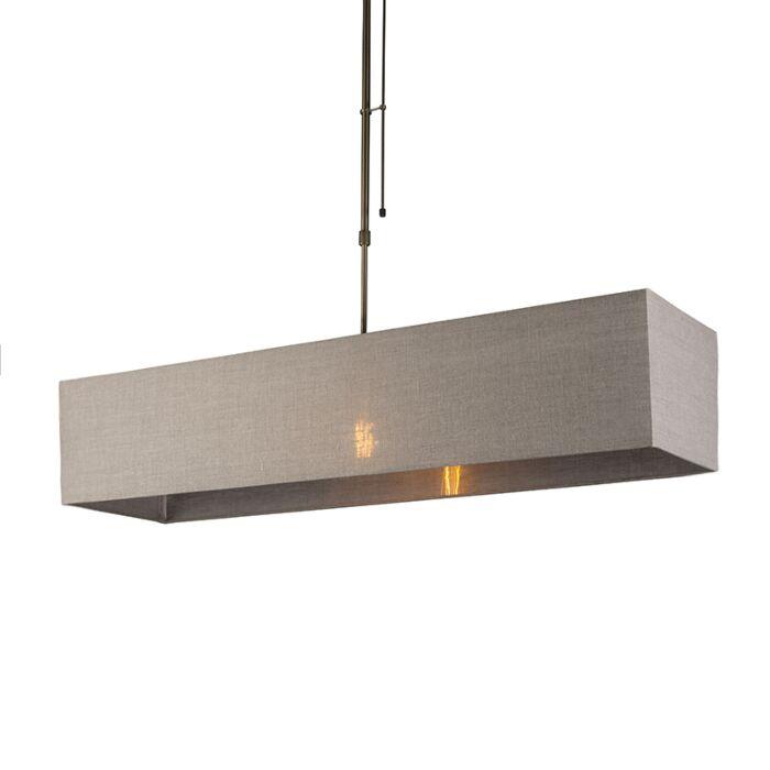 Lámpara-colgante-MIX-1-bronce-regulable-con-pantalla-alargada-marrón-claro