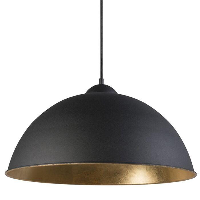 Lámpara-colgante-rústica-redonda-50cm-negro-con-int.-dorado---MAGNA
