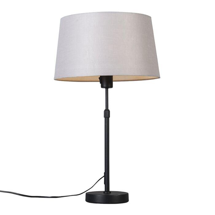 Lámpara-de-mesa-negra-con-pantalla-gris-claro-35-cm-ajustable---Parte