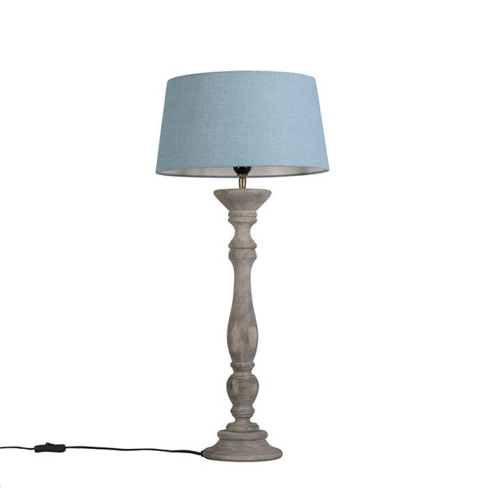Lámpara-de-mesa-gris-con-pantalla-35-cm-azul-claro