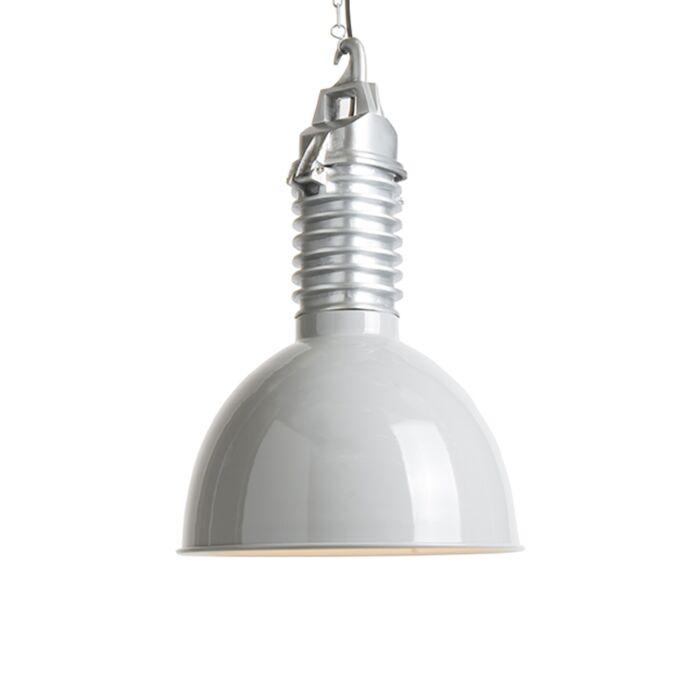Lámpara-colgante-industrial-con-pantalla-gris-claro---Campa