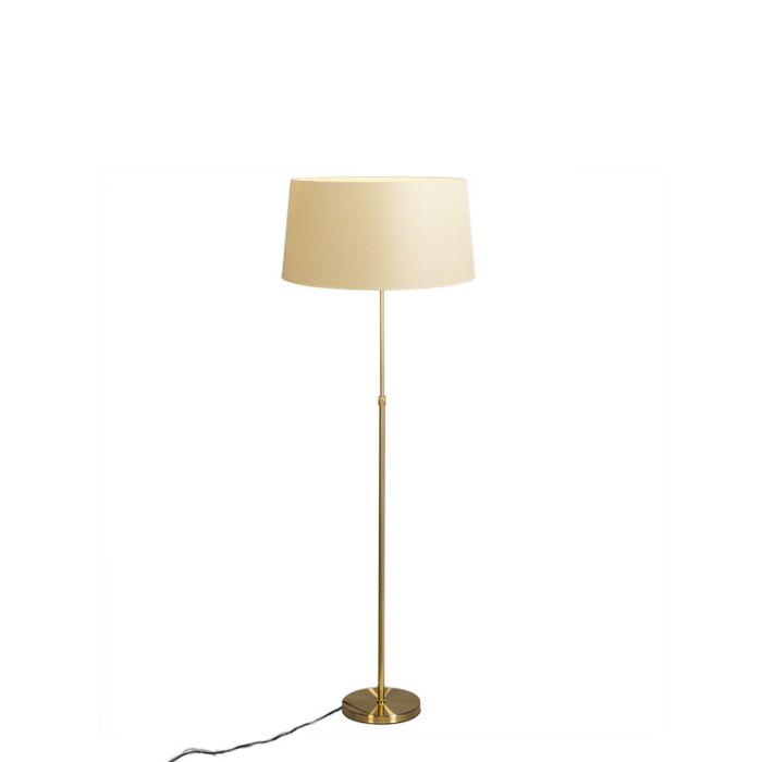Lámpara-de-pie-oro-/-latón-con-pantalla-crema-45-cm-ajustable---Parte