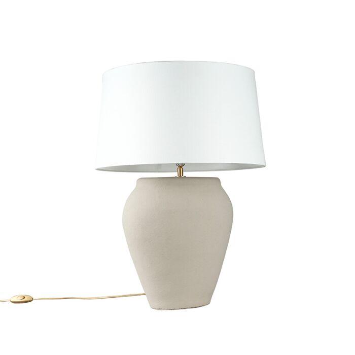 Lámpara-de-mesa-BLAVA-ovalada-gris-pantalla-45cm-blanca