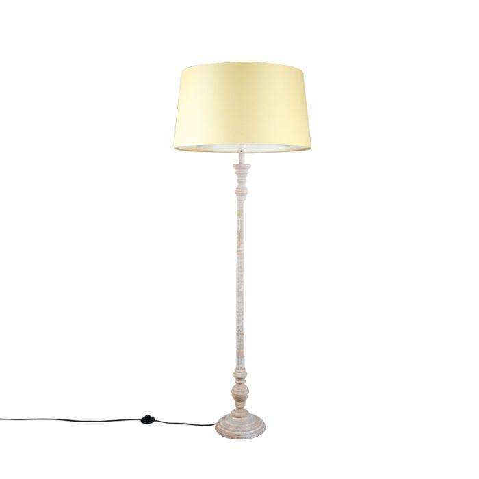 Lámpara-de-pie-CLASSICO-gris-con-pantalla-45cm-creme