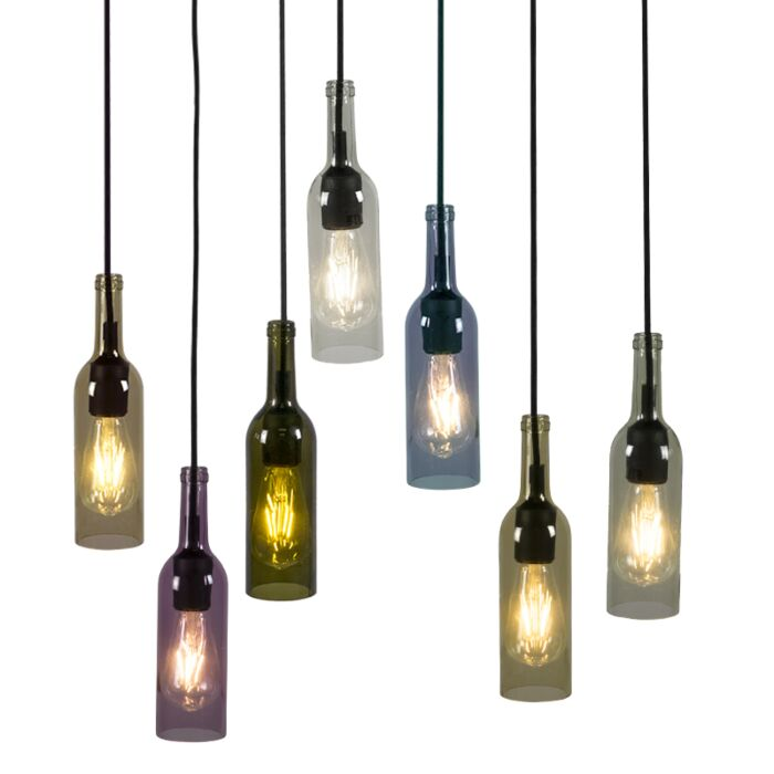 Set-de-7-lámparas-colgantes-BOTTLE-multicolor