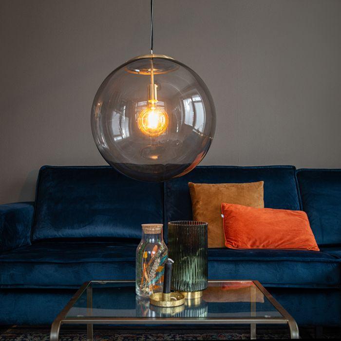 Lámpara-colgante-moderna-latón-vidrio-ahumado-50cm---BALL