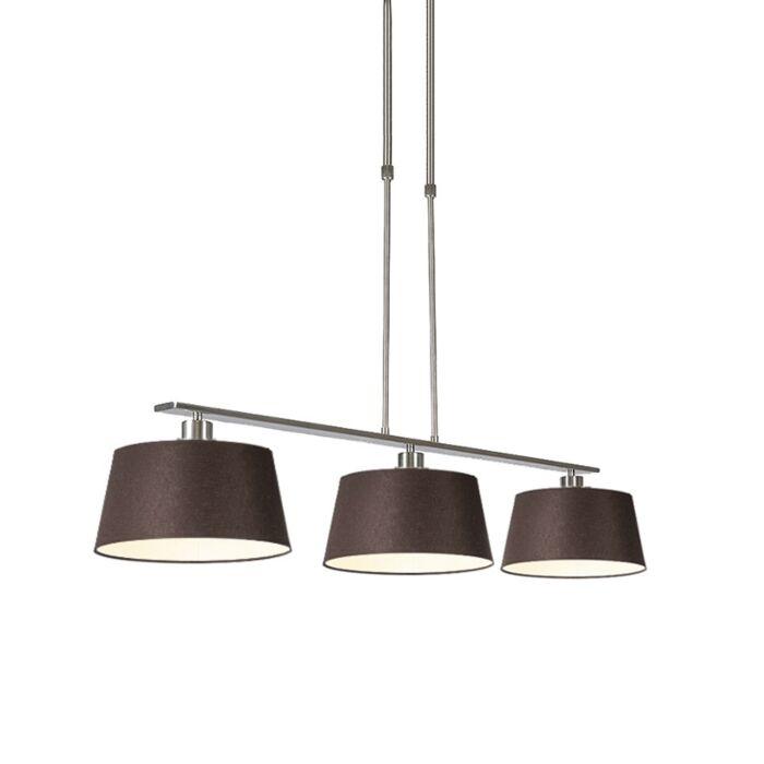 Lámpara-colgante-moderna-acero-pantallas-marrones-35cm---COMBI-3-Deluxe