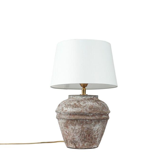 Lámpara-de-mesa-rústica-marrón-pantalla-blanca---ARTA-XS-Vintage