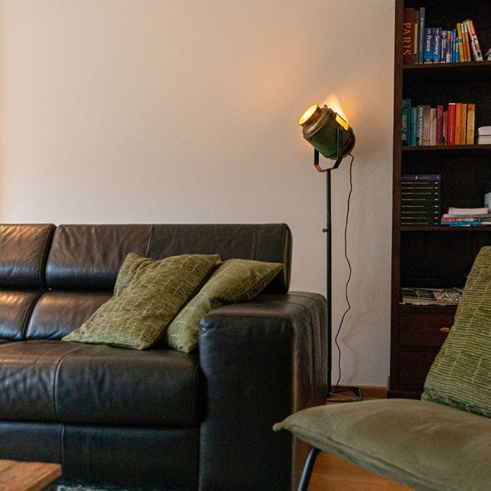 Lámpara-de-pie-industrial-bronce/verde-140cm---BYRON