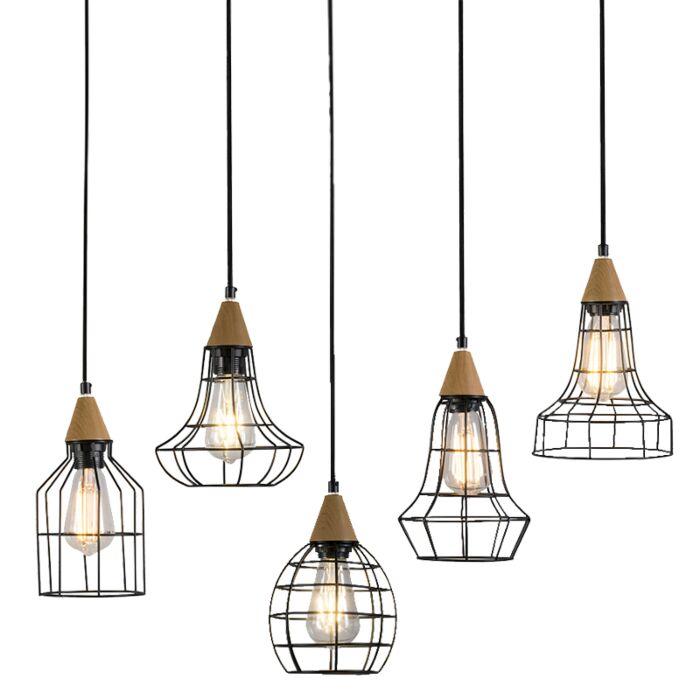 Set-de-5-lámparas-colgantes-WISH-negro-con-madera