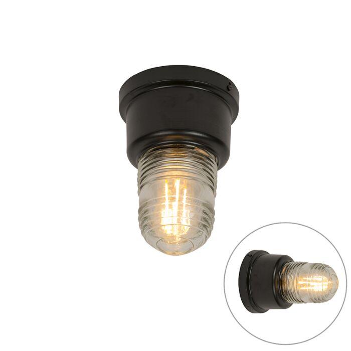Plafón-industrial-negro-acero-con-cristal-vintage---PLANE