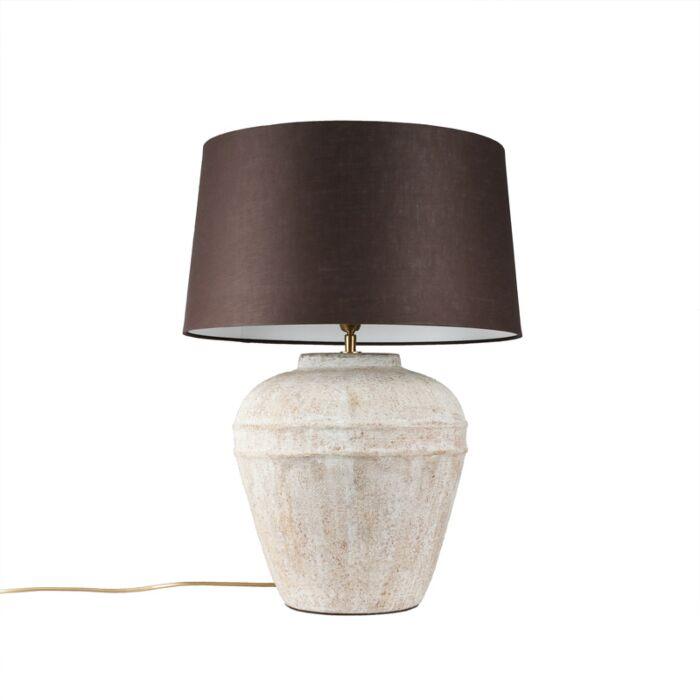 Lámpara-de-mesa-ARTA-S-gris-con-pantalla-45cm-gris-marronáceo