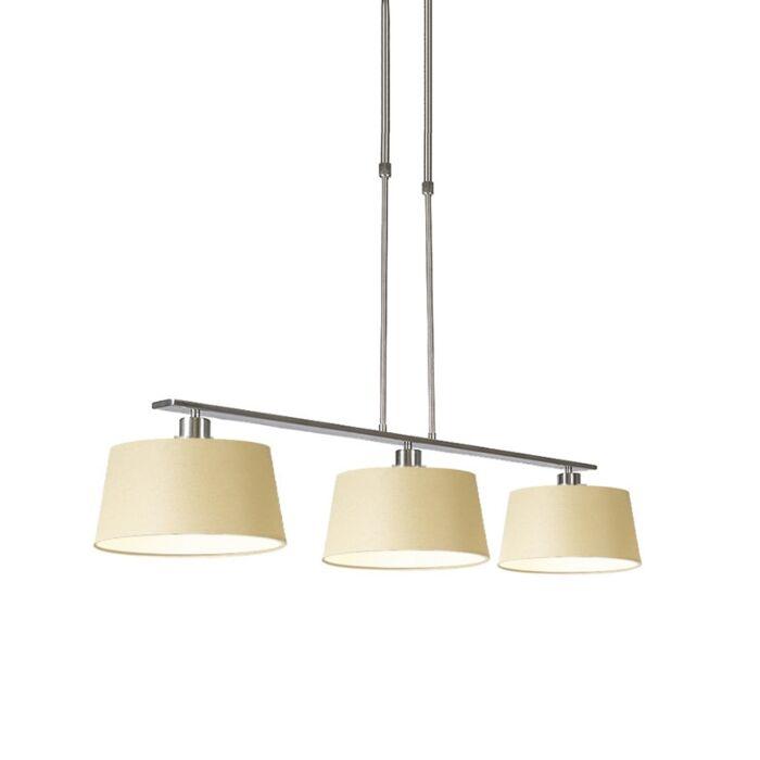 Lámpara-colgante-COMBI-Delux-acero-3-pantallas-cónicas-35cm-crema
