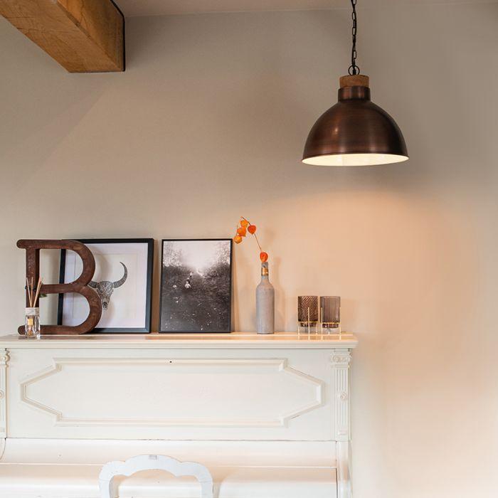 Lámpara-colgante-vintage-cobre-madera---POINTER