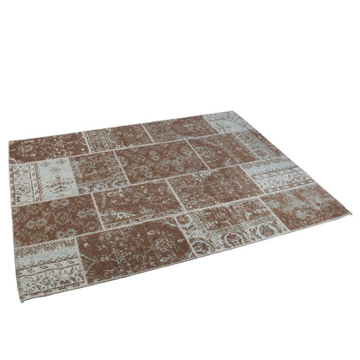 Alfombra-vintage-rectangular-160x230cm-turquesa/marrón---AGRA