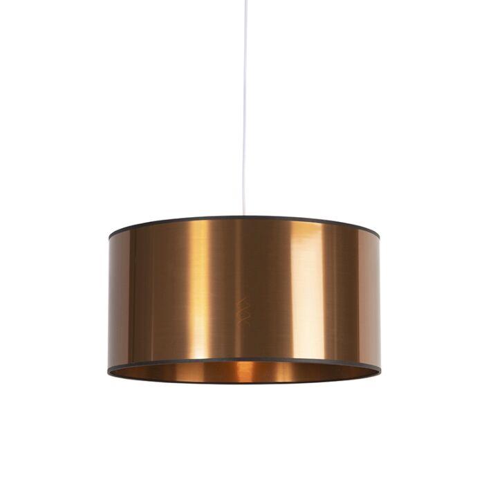 Lámpara-colgante-Art-Deco-blanca-pantalla-cobre-50cm---PENDEL
