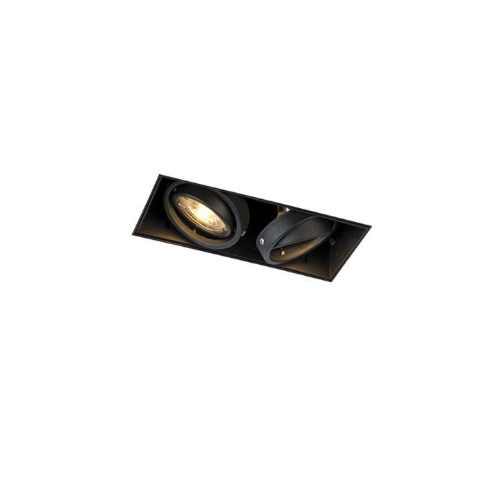 Foco-empotrado-negro-orientable-sin-molduras-2-luces---ONEON-2-Trimless