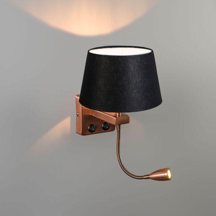 Aplique-BRESCIA-Combi-cobre-con-pantalla-20cm-negra-cónica