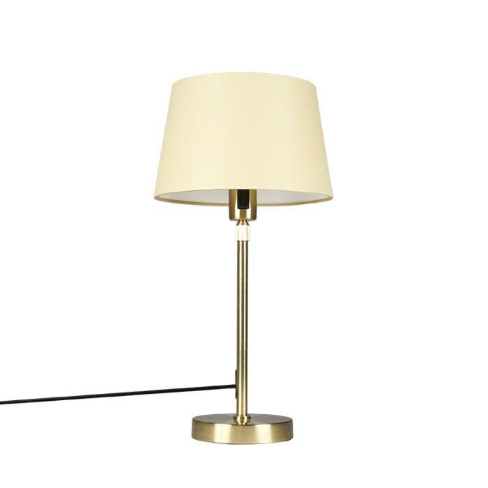 Lámpara-de-mesa-oro-/-latón-con-sombra-crema-25-cm-ajustable---Parte