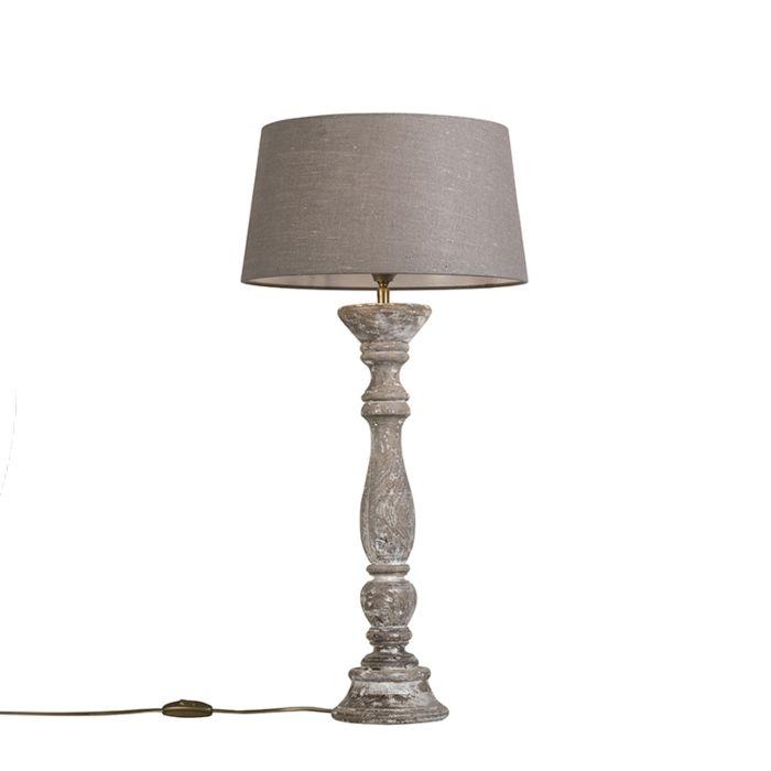 Lámpara-de-mesa-blanca-con-pantalla-35-cm-gris