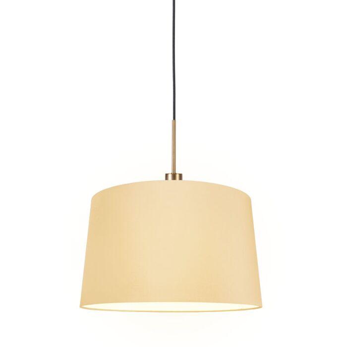 Lámpara-colgante-COMBI-1-negra-con-pantalla-45cm-crema