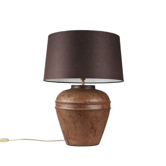 Lámpara-de-mesa-ARTA-S-óxido-con-pantalla-45cm-gris-marronáceo