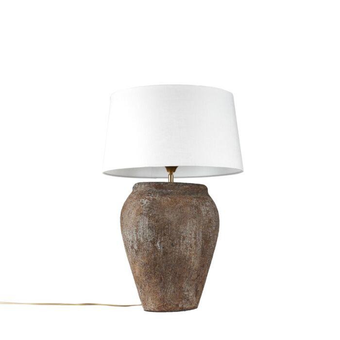 Lámpara-de-mesa-BLAVA-ovalada-vintage-pantalla-45cm-blanca