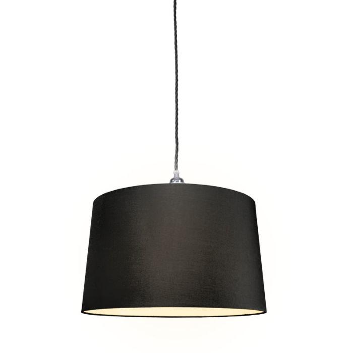 Lámpara-colgante-CAVO-Classic-cromo-negro-con-pantalla-de-45cm-negra