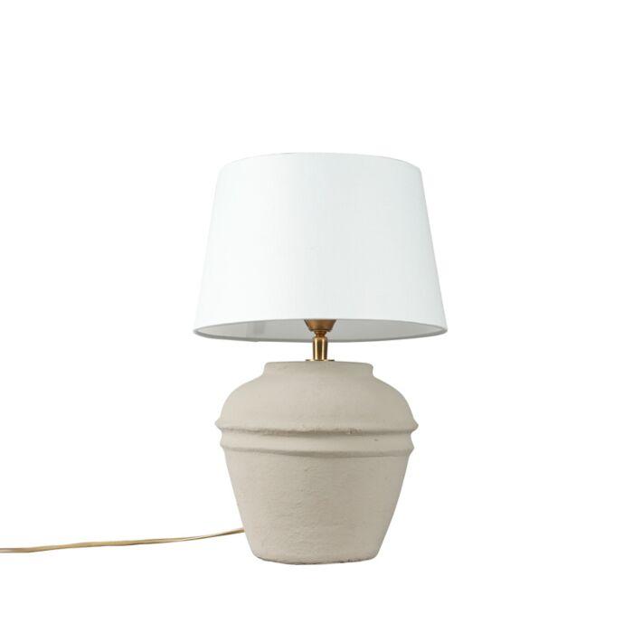 Lámpara-de-mesa-ARTA-XS-gris-con-pantalla-25cm-blanca