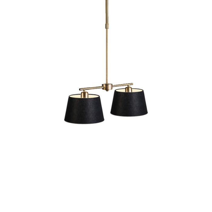 Lámpara-colgante-MIX-2-bronce-con-pantalla-20cm-negra