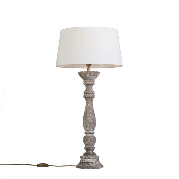 Lámpara-de-mesa-blanca-con-pantalla-35-cm-blanca