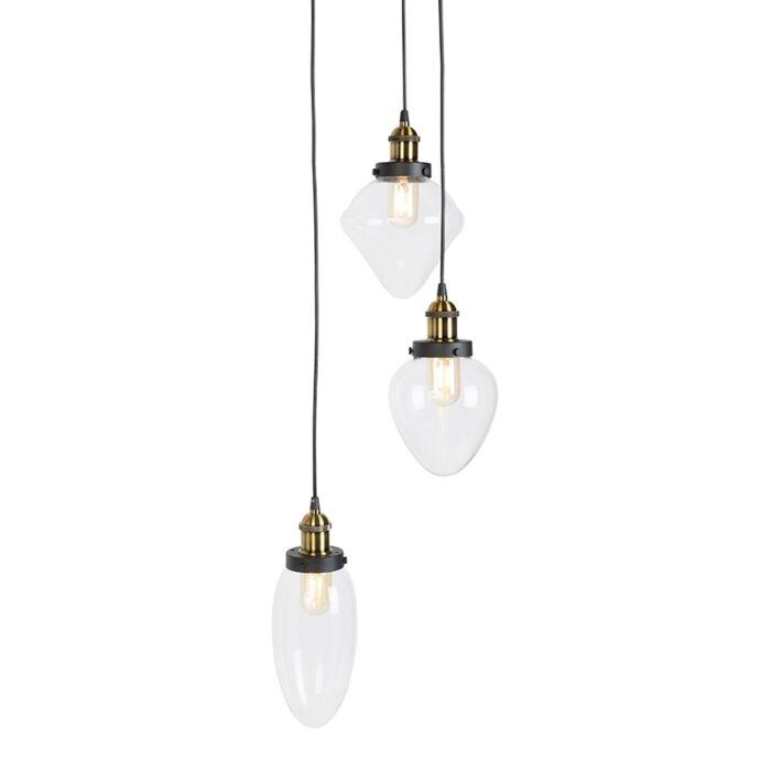 Lámpara-colgante-vintage-3-luces-negra---MESCOLARE