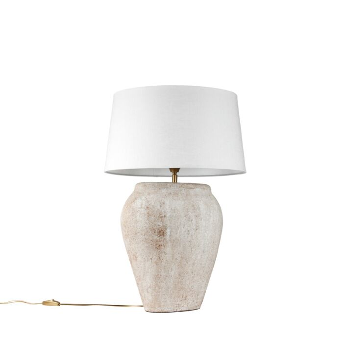 Lámpara-de-mesa-BLAVA-ovalada-escocesa-pantalla-45cm-blanca
