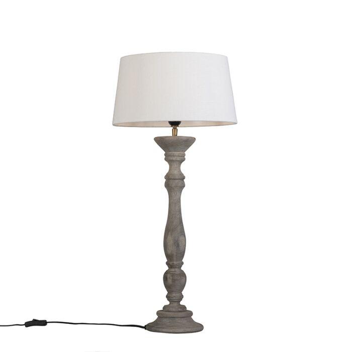 Lámpara-de-mesa-gris-con-pantalla-35-cm-blanca