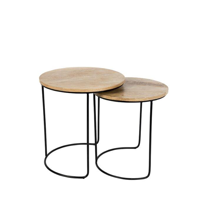 Set-de-2-mesas-auxiliares-negro-con-madera-redondas---HEMIS