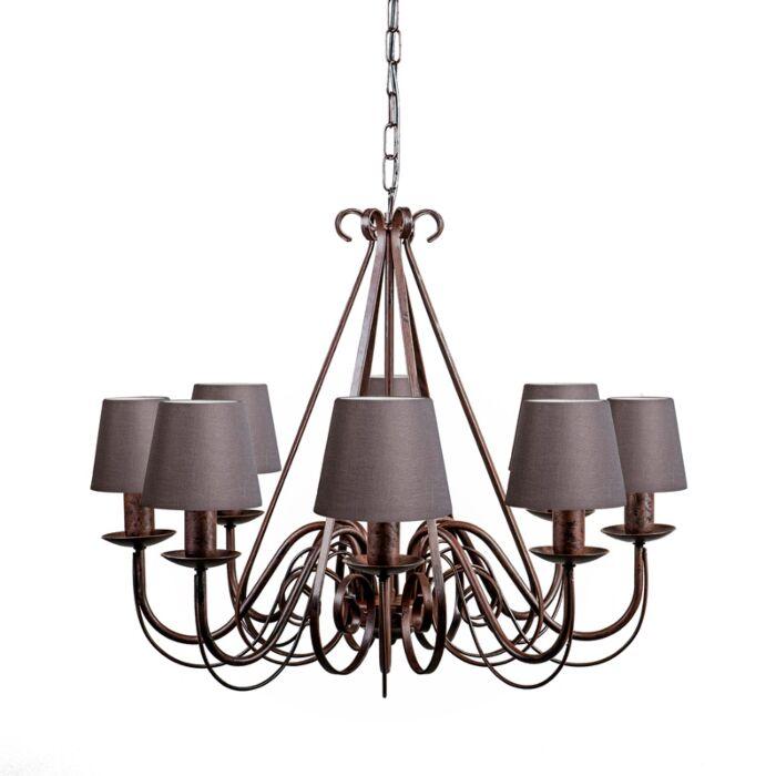 Lámpara-de-araña-GIUSEPPE-8-blanco-envejecido-con-pantallas-de-gancho-12cm-gris-marronáceo