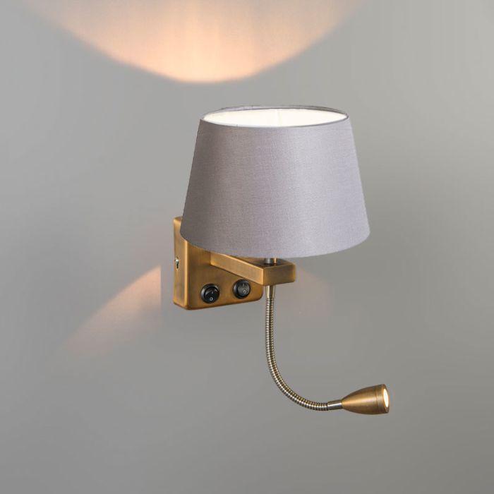 Aplique-BRESCIA-Combi-bronce-con-pantalla-20cm-gris-claro-cónica