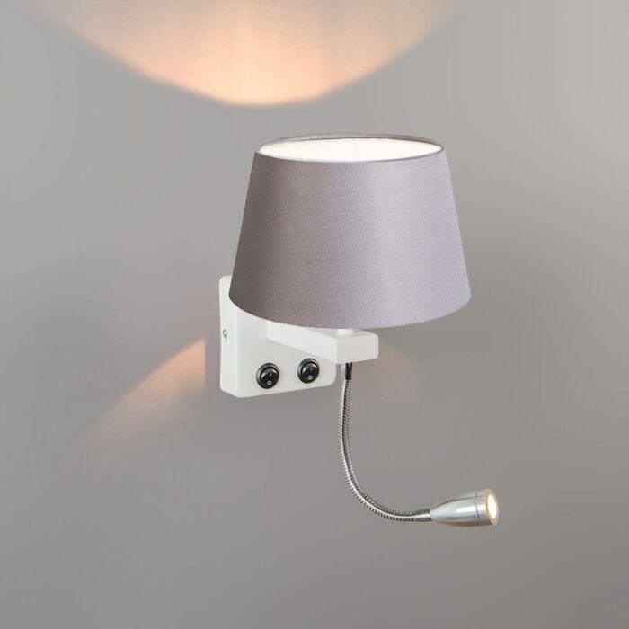 Aplique-BRESCIA-Combi-blanco-con-pantalla-20cm-gris-claro-cónica