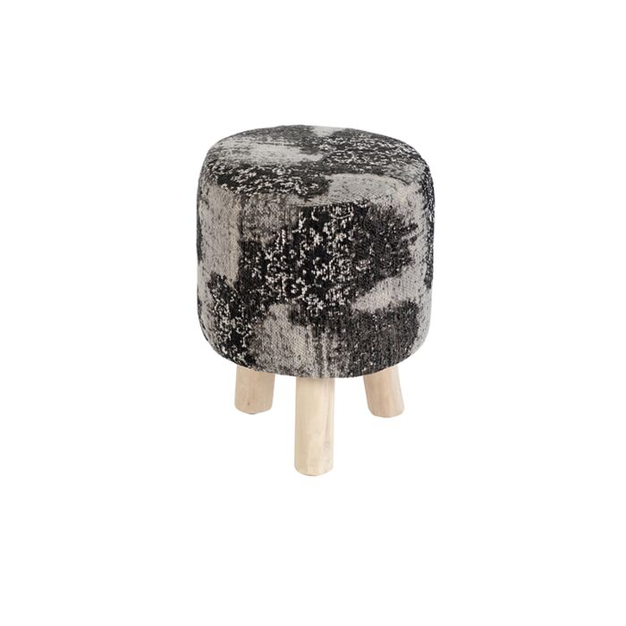 Taburete-redondo-vintage-gris/negro-30-x-30-x-40cm---PURI