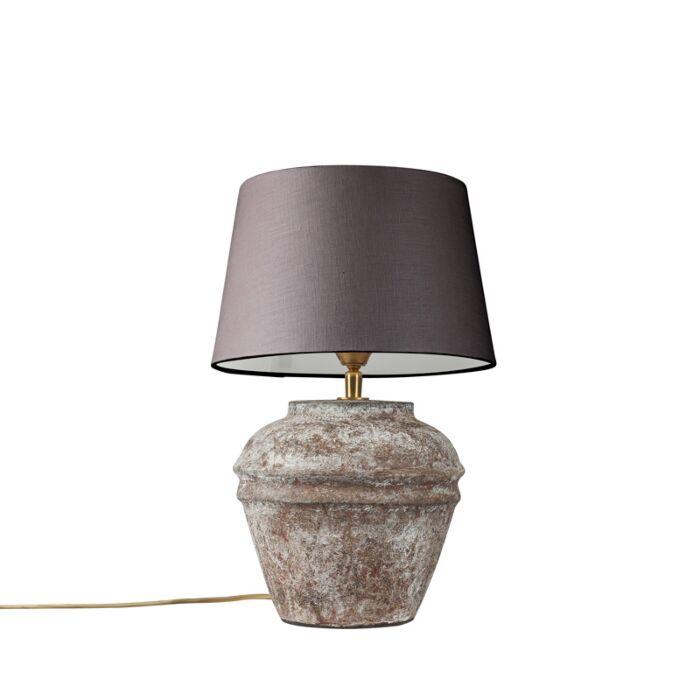Lámpara-de-mesa-ARTA-XS-vintaje-con-pantalla-25cm-gris-marronáceo