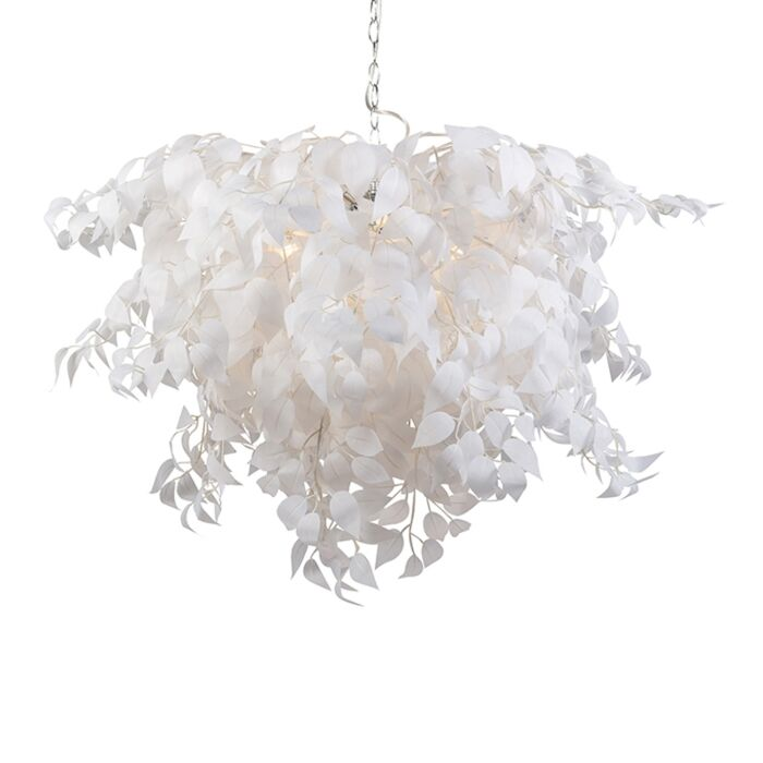 Lámpara-colgante-romántica-blanca-hojas---FEDER