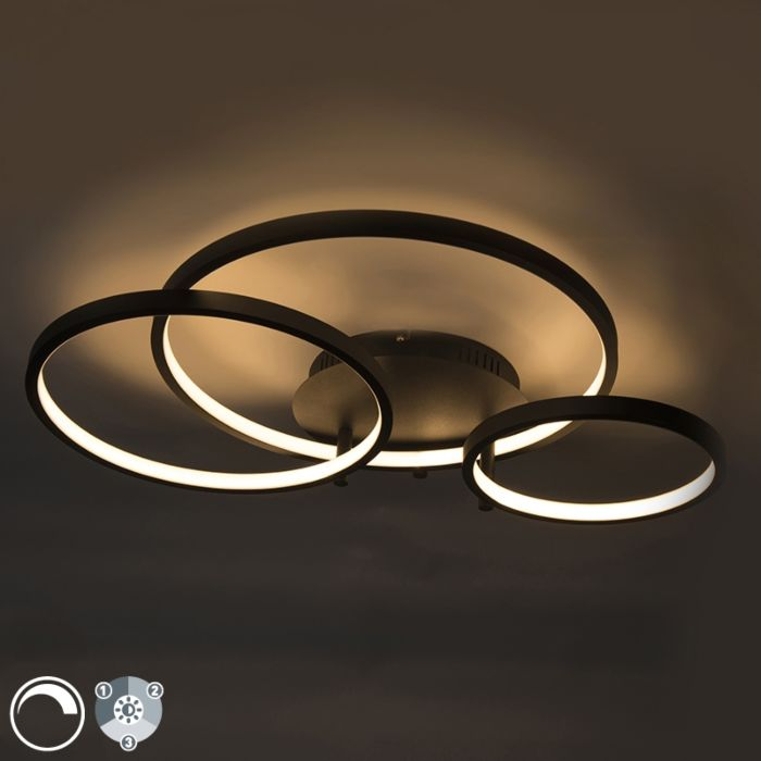 Plafón-moderno-negro-LED-regulador---RONDAS-