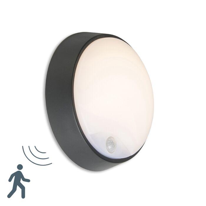 Aplique-HORTUS-LED-con-sensor-PIR-IP54-redondo-negro