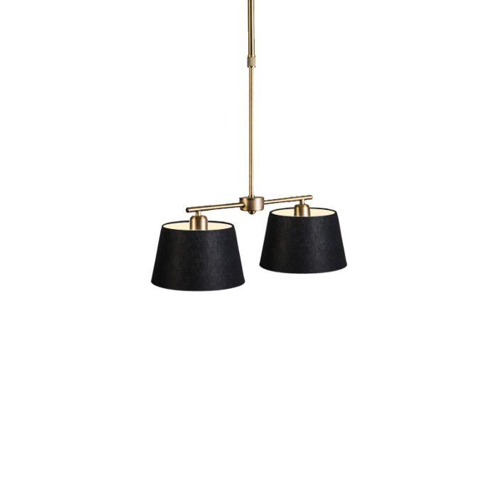 Lámpara-colgante-MIX-2-bronce-con-regulador-con-pantalla-20cm-negra