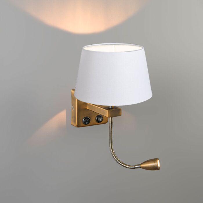 Aplique-BRESCIA-Combi-bronce-con-pantalla-20cm-blanca-cónica