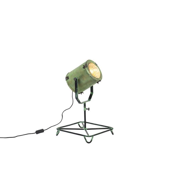 Lámpara-de-mesa-vintage-foco-de-cine-verde-envejecido-60cm---BROOKE