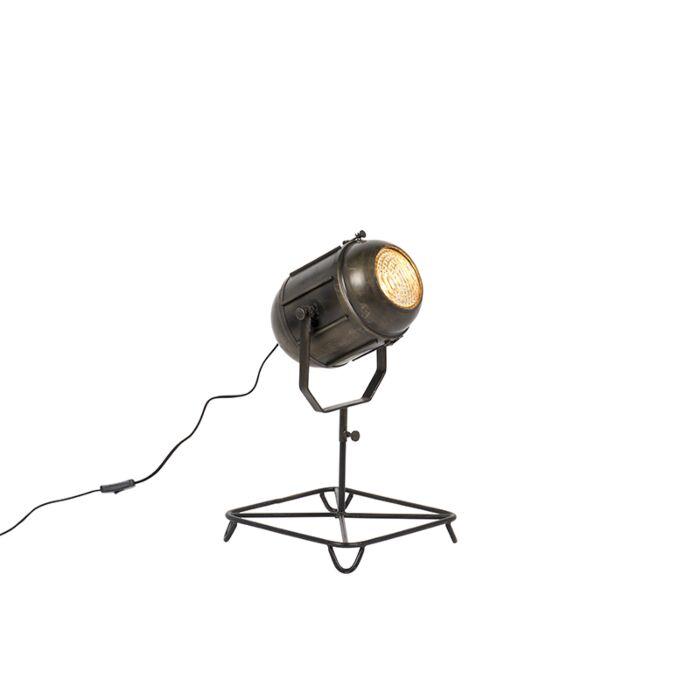 Lámpara-de-mesa-vintage-foco-de-cine-bronce-envejecido-60cm---BROCA